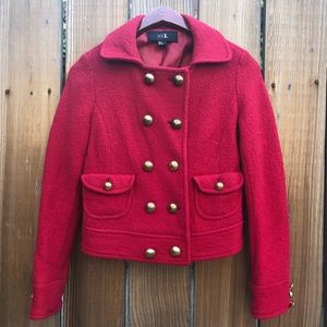 Forever 21 red wool blend pea coat S